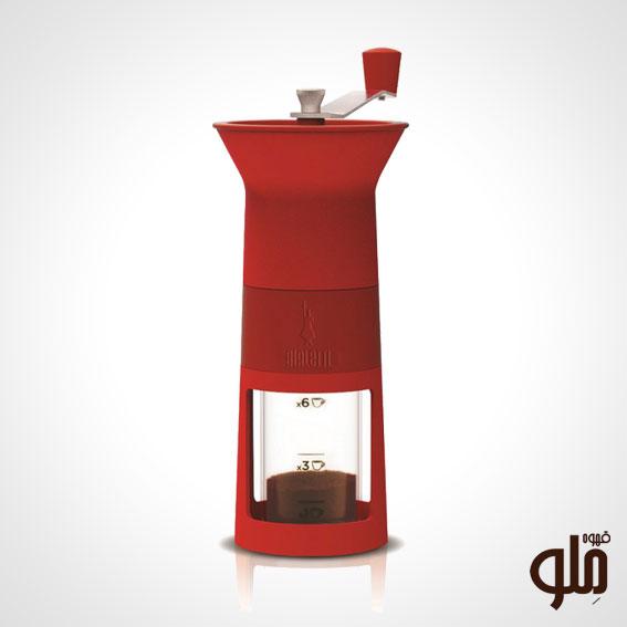 آسیاب دستی قهوه بیالتی قرمز رنگ