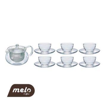 ست چای خوری 6 فنجان +قوری پیرکس هاریو